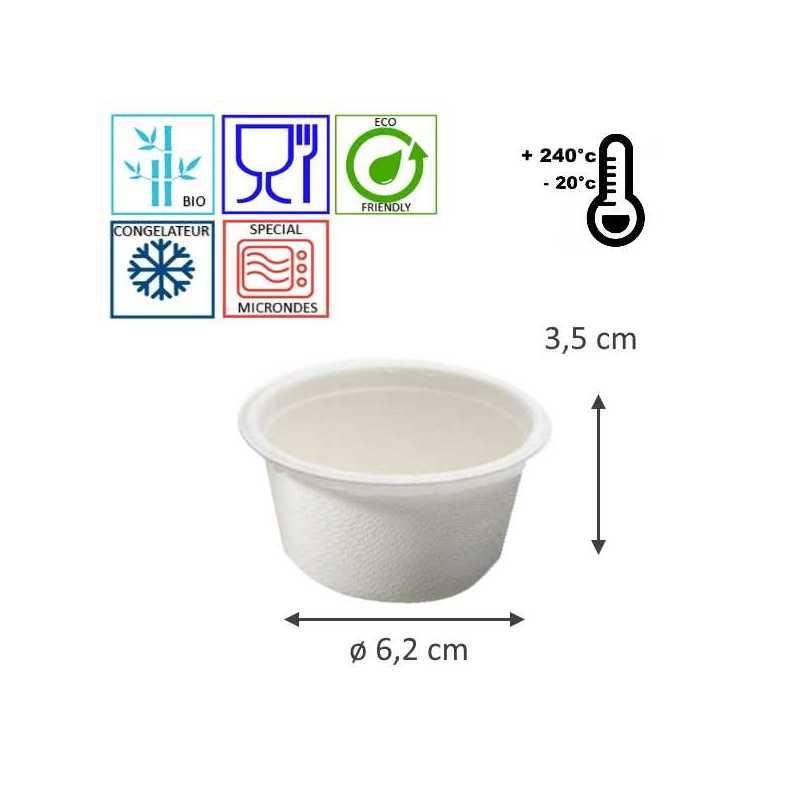 Ramequin blanc jetable bio, emballage alimentaire pour traiteur, canne à sucre