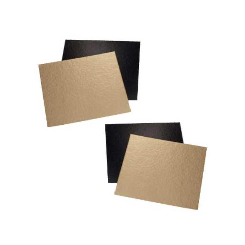 Support carton carré couleur or et noir pour Gâteaux et Pâtisseries
