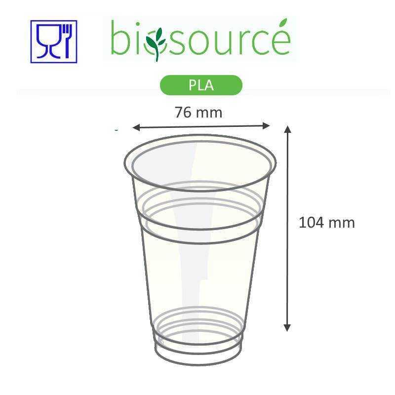 Gobelets en plastique biosourcé PLA, écologique pour la restauration