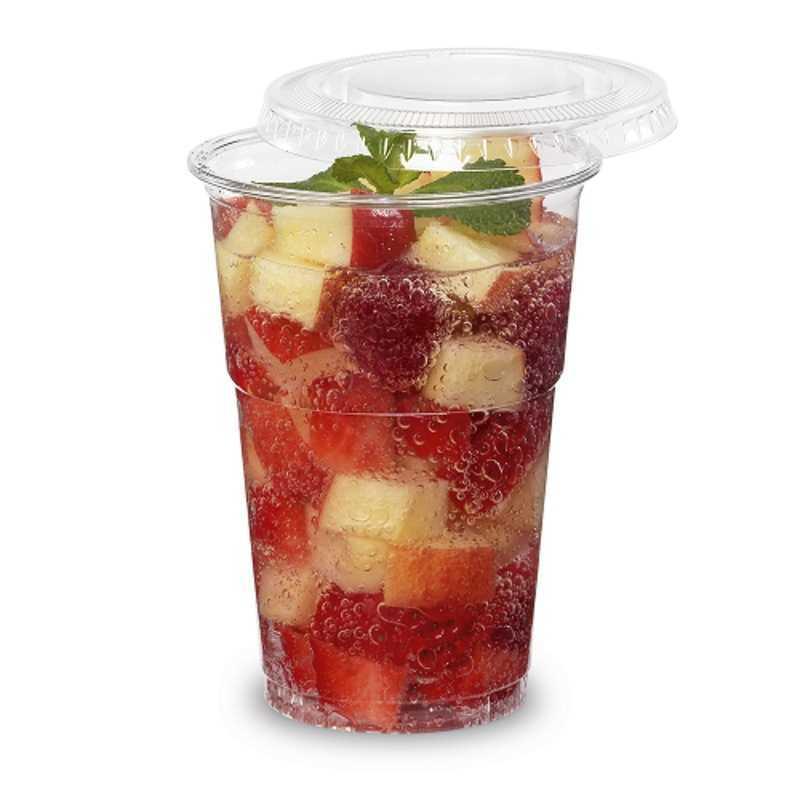 Couvercle plastique plat sans croisillons pour jus de fruit, smoothie, avec ou sans son couvercle