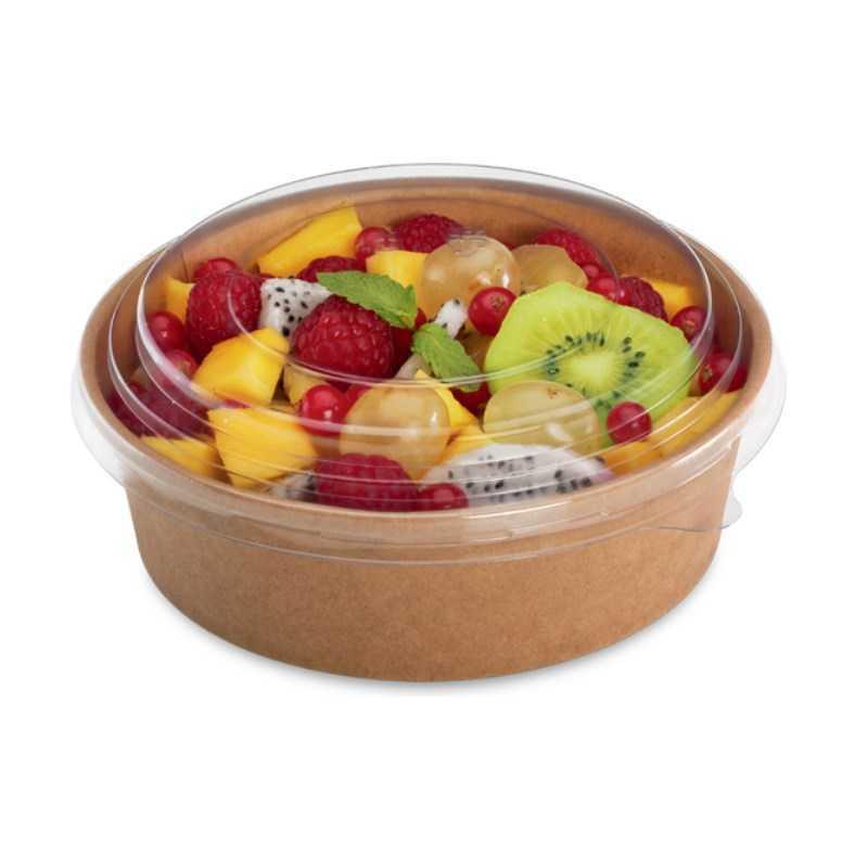 Bol à salade kraft brun avec couvercle, emballage alimentaire snacks