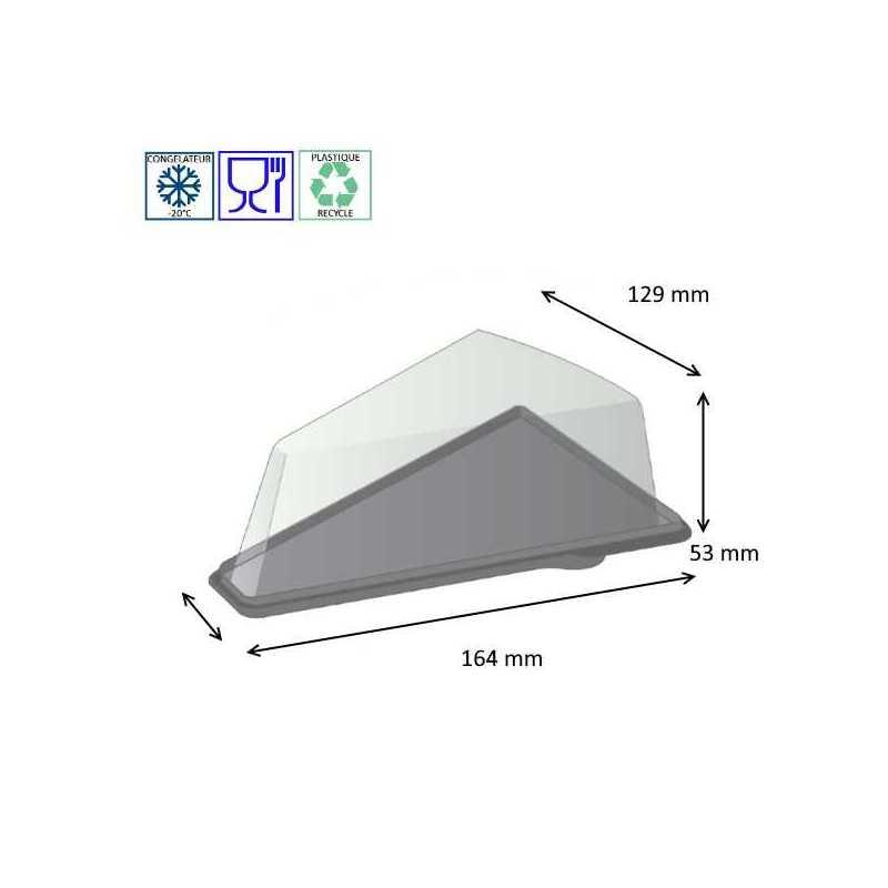 Boite triangulaire pour tartes avec un fond noir, emballage pâtisserie