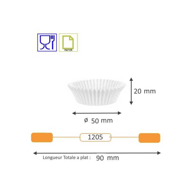Caissette cuisson plissée blanche Benders pour Pâtisserie Boulangerie